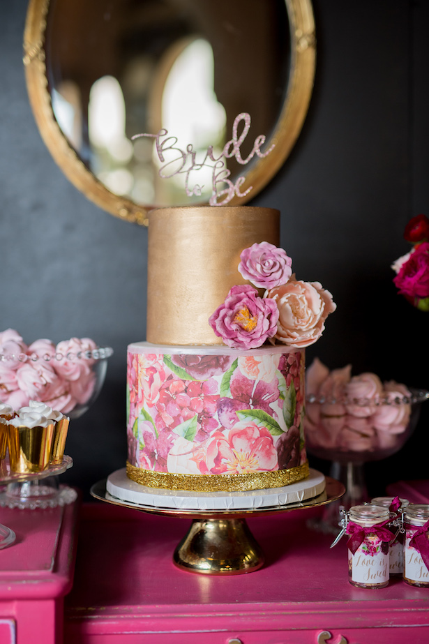 Bridal shower floral cake - Cary Diaz Photography