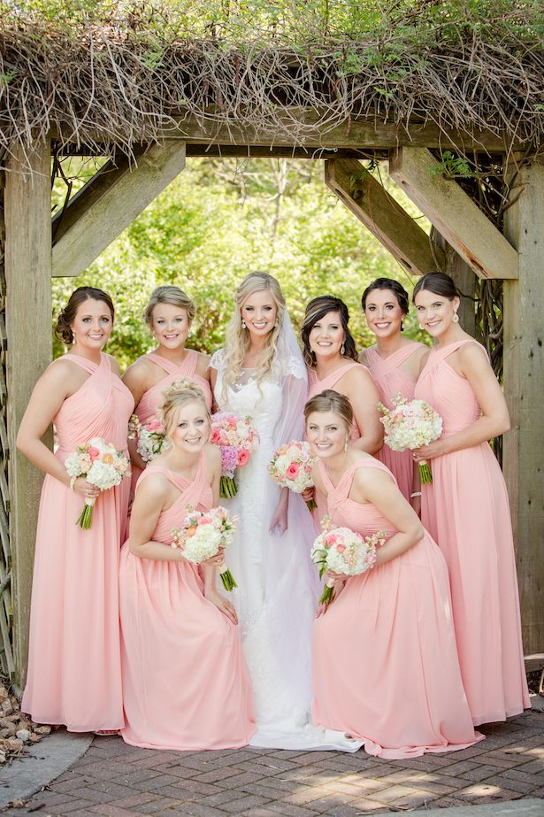 Coral bridesmaid dresses - Freeland Photography