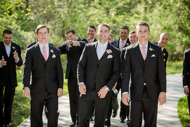 Coral groomsmen ties - Freeland Photography