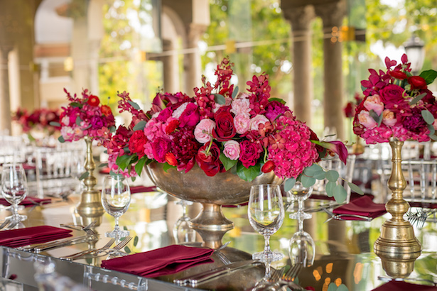 Red and pink wedding centerpieces - Cary Diaz Photography