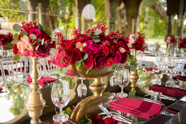 Red and gold wedding centerpiece - Cary Diaz Photography
