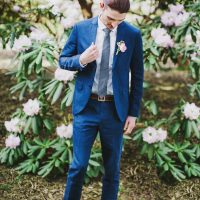 Blue groom tuxedo - Caroline Ross Photography