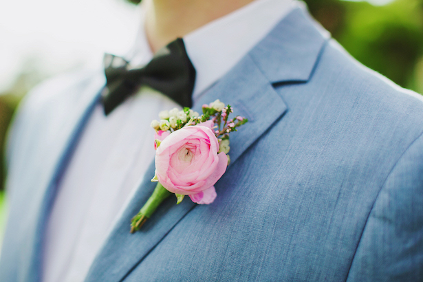 Pink groom boutonniere with light grey tuxedo- Caroline Ross Photography