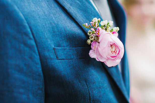 Pink wedding boutonniere - Caroline Ross Photography