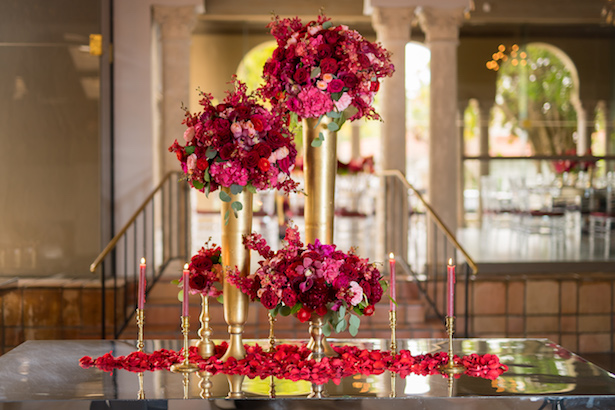Red and gold bridal shower arrangements - Cary Diaz Photography