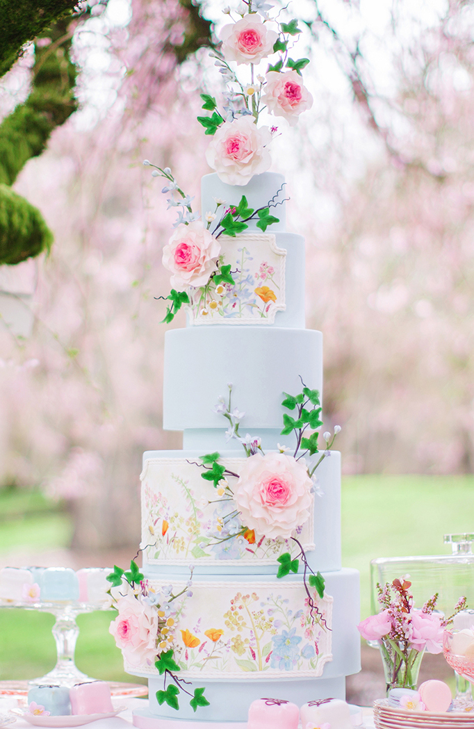 Spring Wedding Cake - Caroline Ross Photography