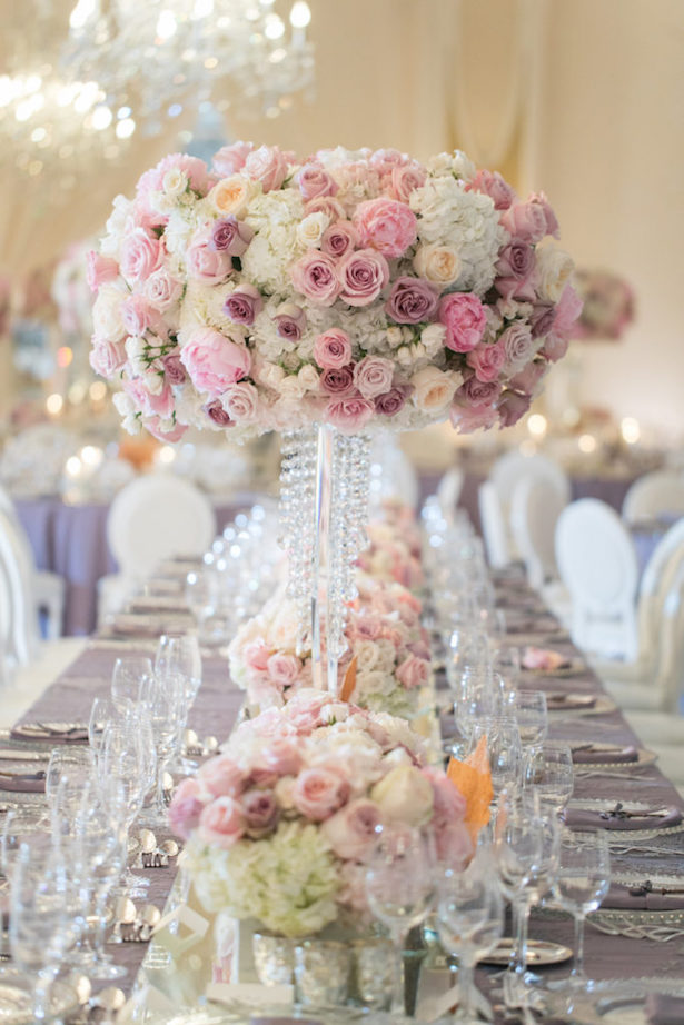 Tall Pink Wedding Centerpiece - Jessica Claire Photography