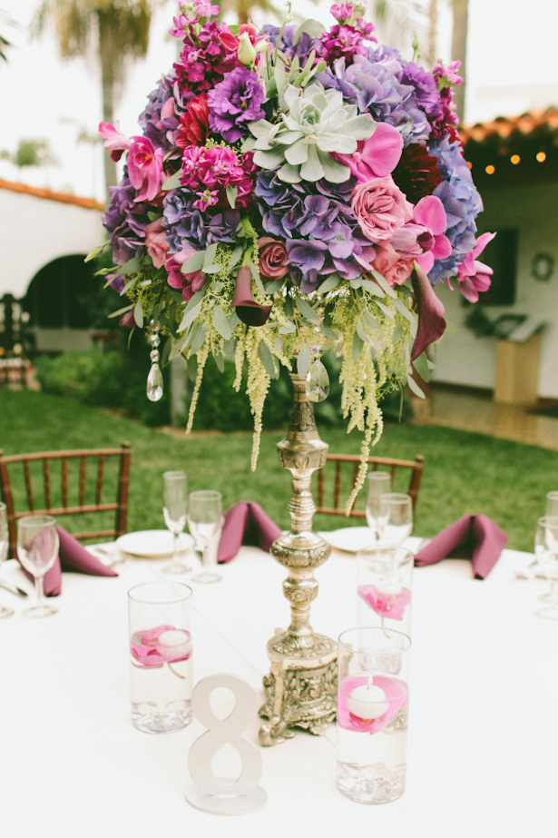 Tall Purple Wedding Centerpiece - Wai Reyes Photography