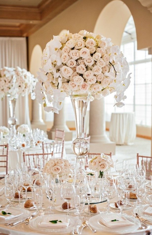 Tall White Wedding Centerpiece - Victor Sizemore Photography