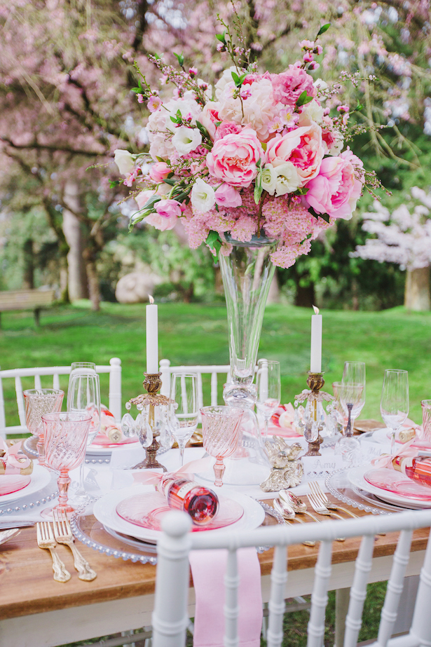 Tall pink wedding centerpiece - Caroline Ross Photography