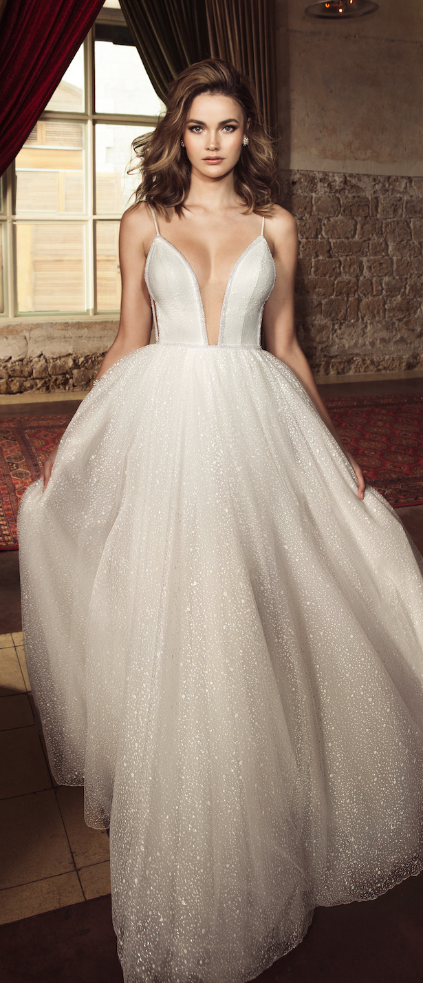 Wedding Dress by Julie Vino 2017 Romanzo Collection | Ballgown with deep plunging neckline