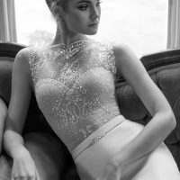 Wedding Dress by Julie Vino 2017 Romanzo Collection   Sleeveless, illusion neckline fitted bridal gown