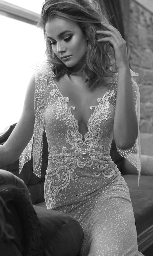 Wedding Dress by Julie Vino 2017 Romanzo Collection | Fitted bridal gown with deep plunging nechline