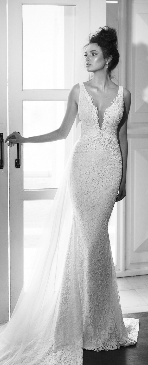Wedding Dress by Julie Vino 2017 Romanzo Collection | Fitted lace bridal gown with deep plunging neckline
