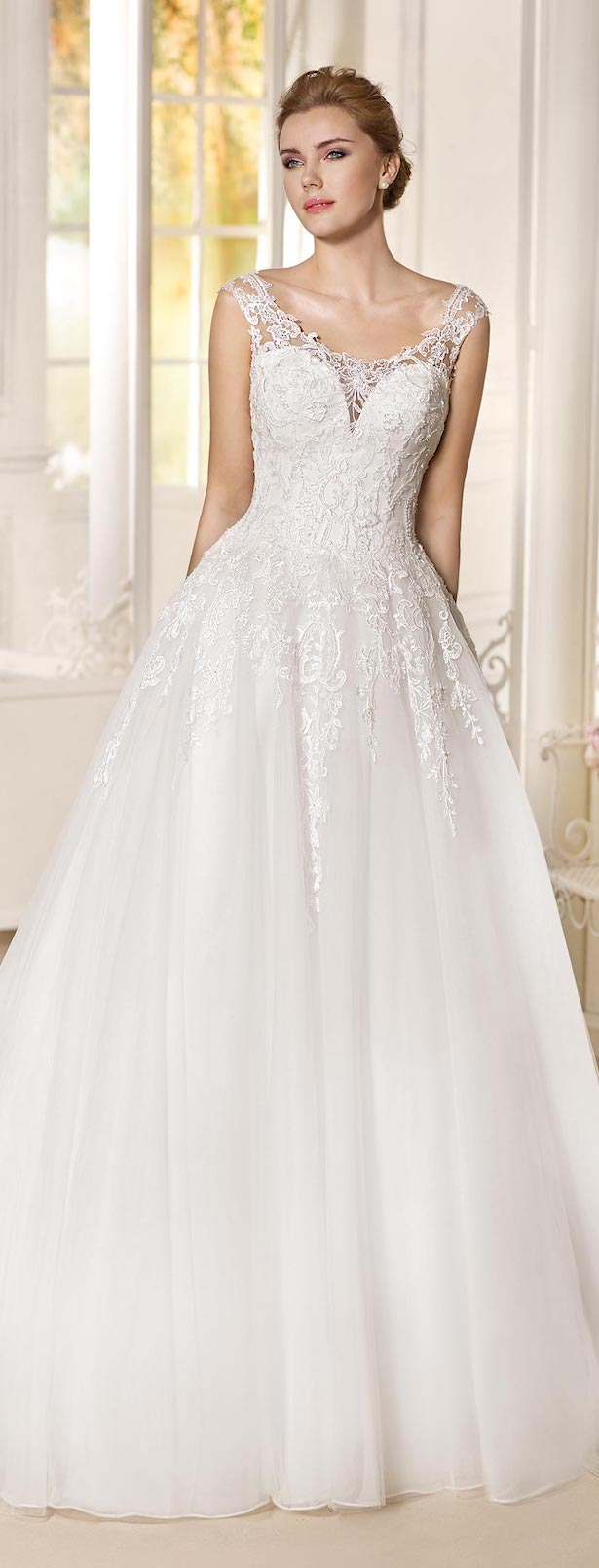 Sleeveless Lace Ball gown Wedding Dress by Fara Sposa 2017 Bridal Collection