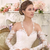 Illusion long sleeves v-neck lace a line Wedding Dress by Fara Sposa 2017 Bridal Collection