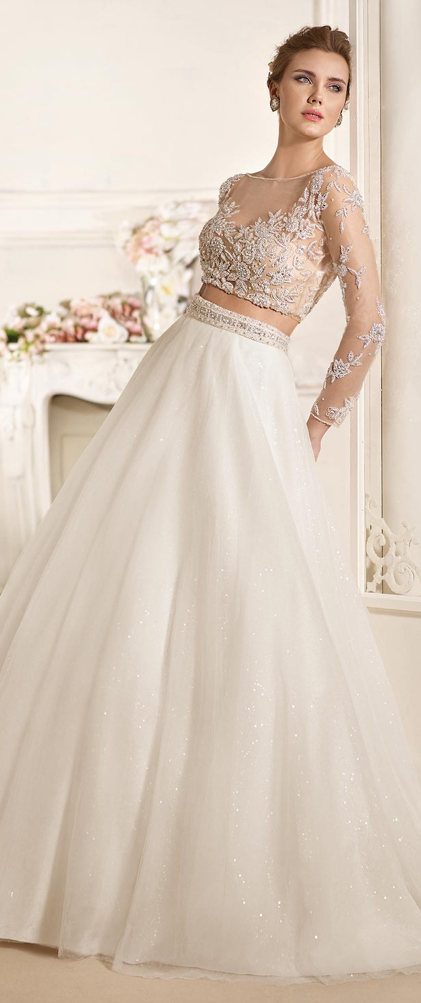 Long sleeves crop top Wedding Dress by Fara Sposa 2017 Bridal Collection