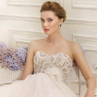 Beaded strapless ball gown Wedding Dress with sweetheart neckline by Fara Sposa 2017 Bridal Collection