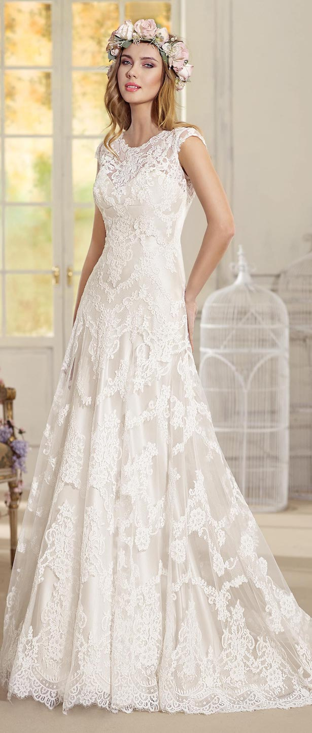 Cap sleeve Lace Wedding Dress by Fara Sposa 2017 Bridal Collection