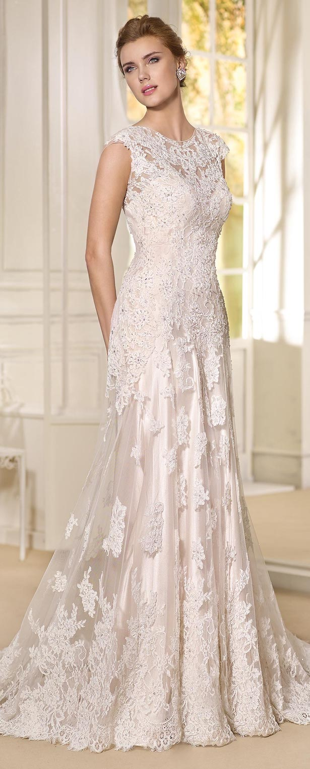 Cap sleeve blush lace Wedding Dress by Fara Sposa 2017 Bridal Collection
