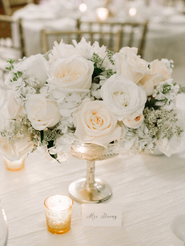 White Wedding Centerpieces - Luna de Mare Photography