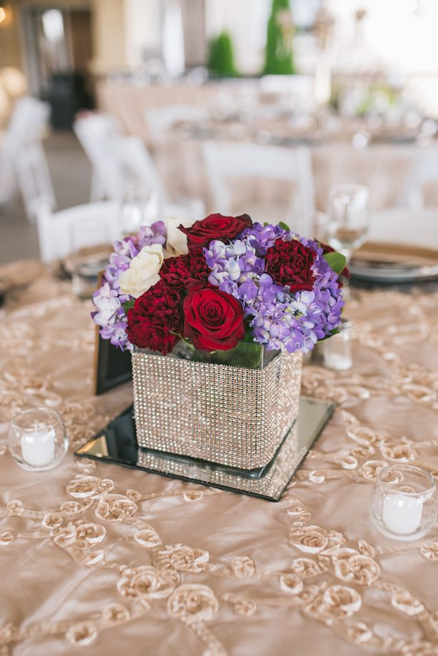 Red and Purple wedding centerpiece - Manifesto Photography