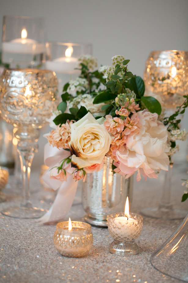 Wedding Centerpiece with Candles - Erin Johnson Photography