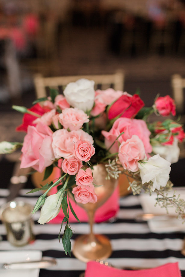 Pink and gold wedding centerpiece - Alicia Lacey Photography