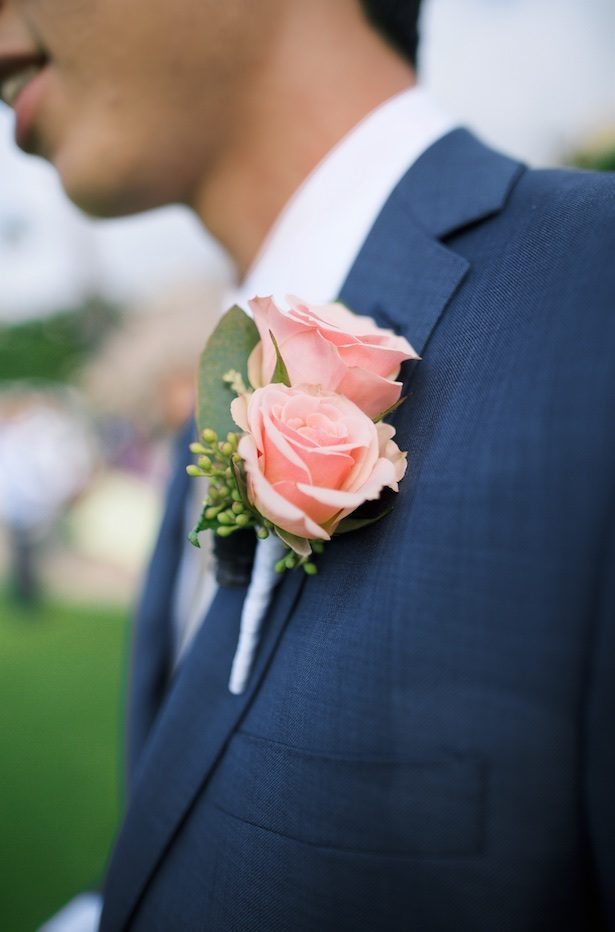 Pink groom boutonniere - Anna Kim Photography