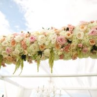 Pink wedding ceremony flowers - Anna Kim Photography