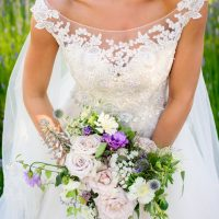 Purple wedding bouquet - Kristen Borelli Photography