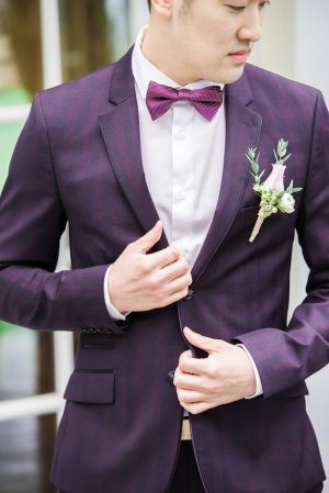 Purple wedding tux - L'estelle Photography