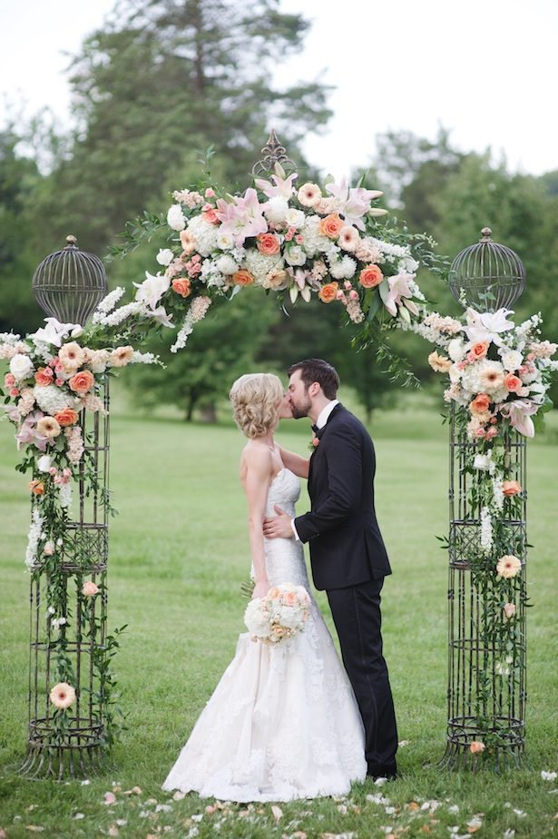 Beautiful Coral Outdoor Wedding