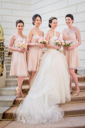 Blush short bridesmaid dresses - Pierre Paris Photography