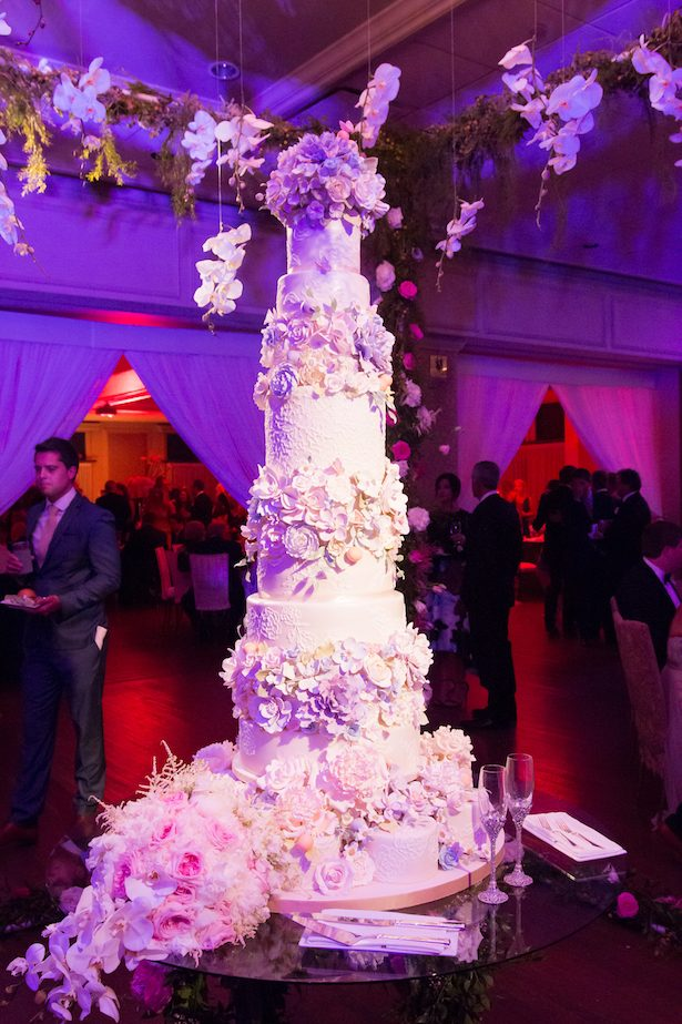 Tall floral wedding cake - Ace Cuervo Photography