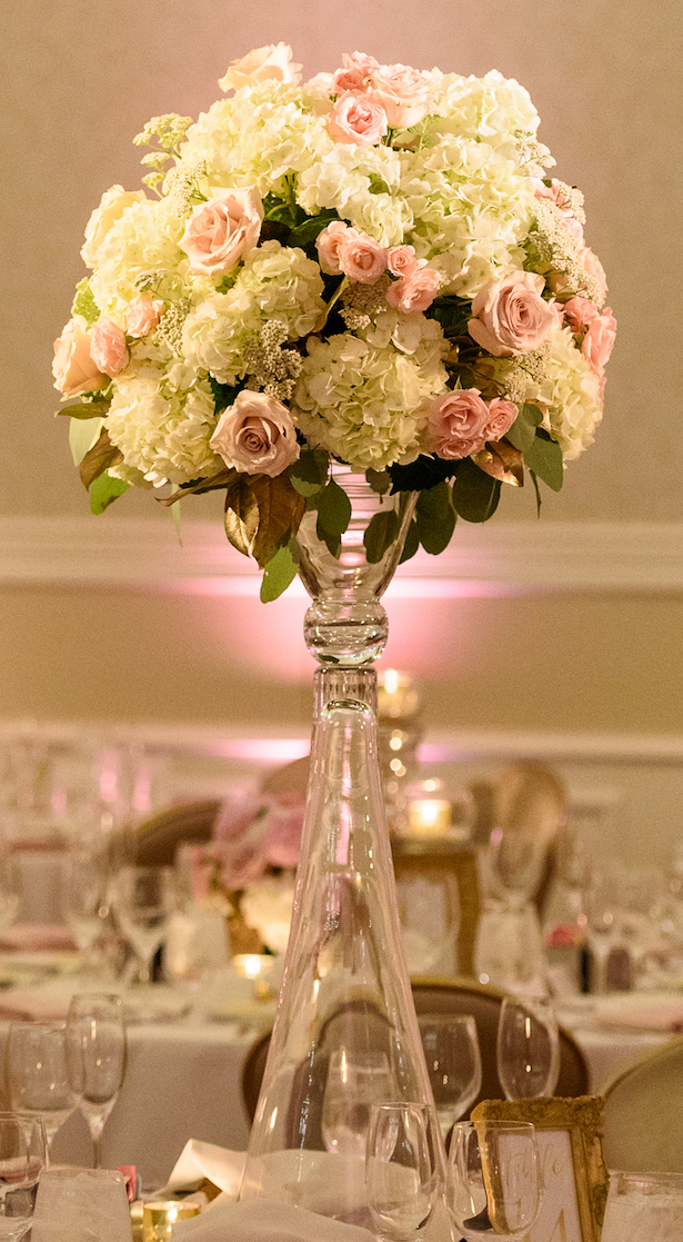 Tall pink and white wedding centerpiece - Katie Whitcomb Photographers