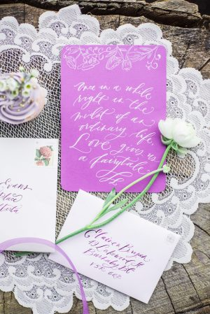 Violet wedding invitation - L'estelle Photography