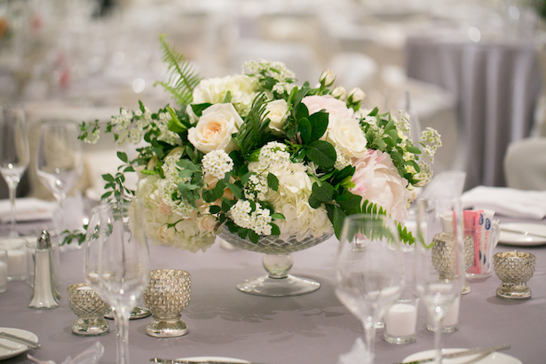 white and green wedding centerpiece - Erin Johnson Photography