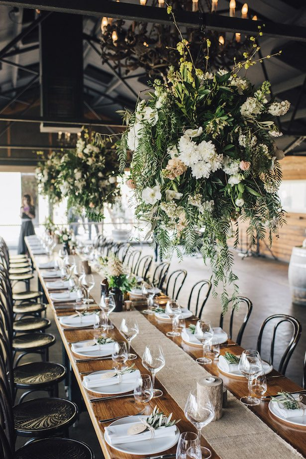 Wedding hanging flower decor - The White Tree Photography