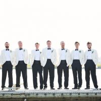 White and black groomsmen tux - Sunny Lee Photography