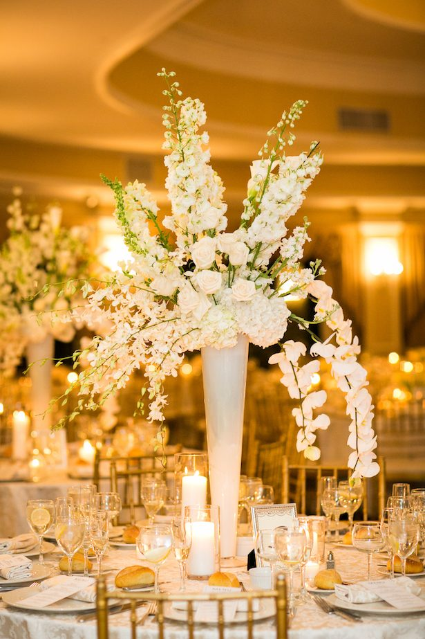 White tall wedding centerpiece - Cody Raisig Photography