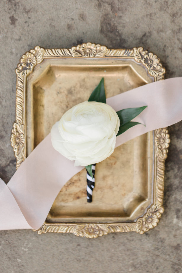 White rose wedding boutonniere - Alicia Lacey Photography