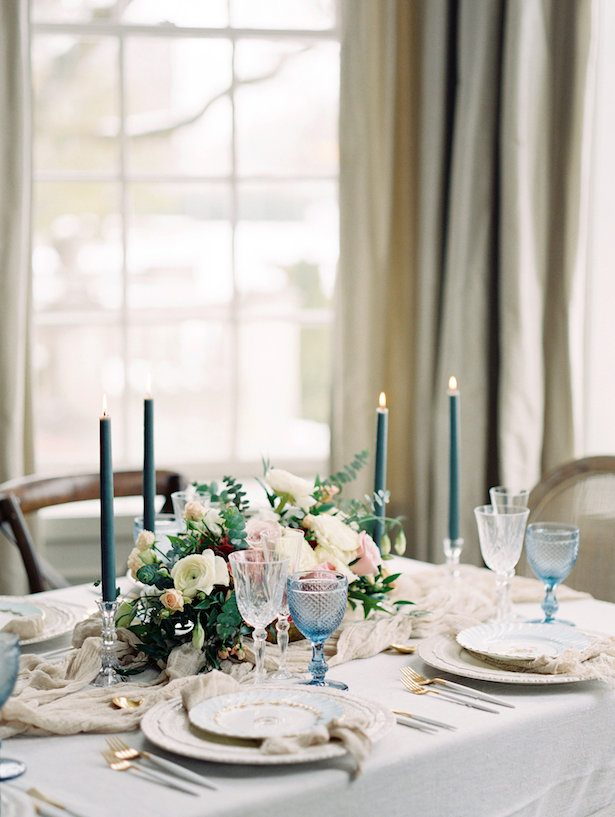 Blue wedding tablescape - Whitney Heard Photography