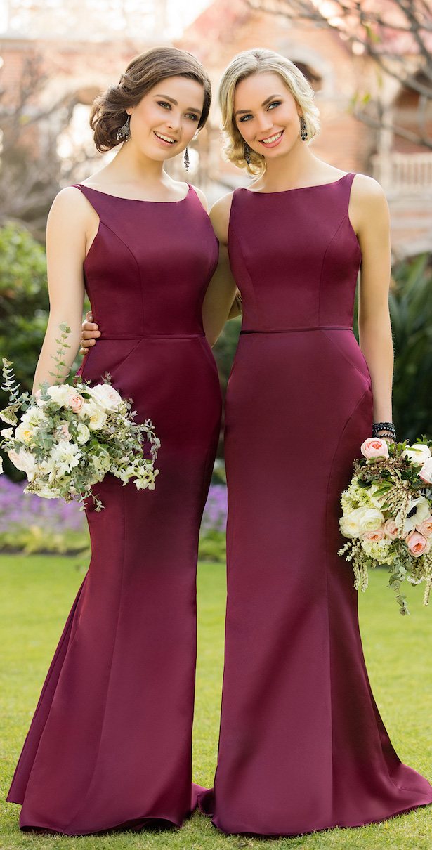 Wine Colored Bridesmaid Dress Short