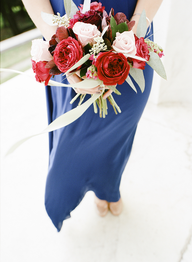 Blue Bridesmaid Dress with Red Bouquet - Lisa Blume Photography