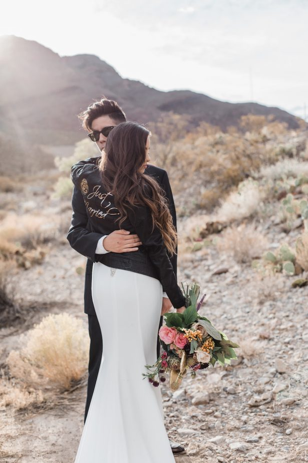 Bride wearing a leather jacket - Coffee Creative Photography