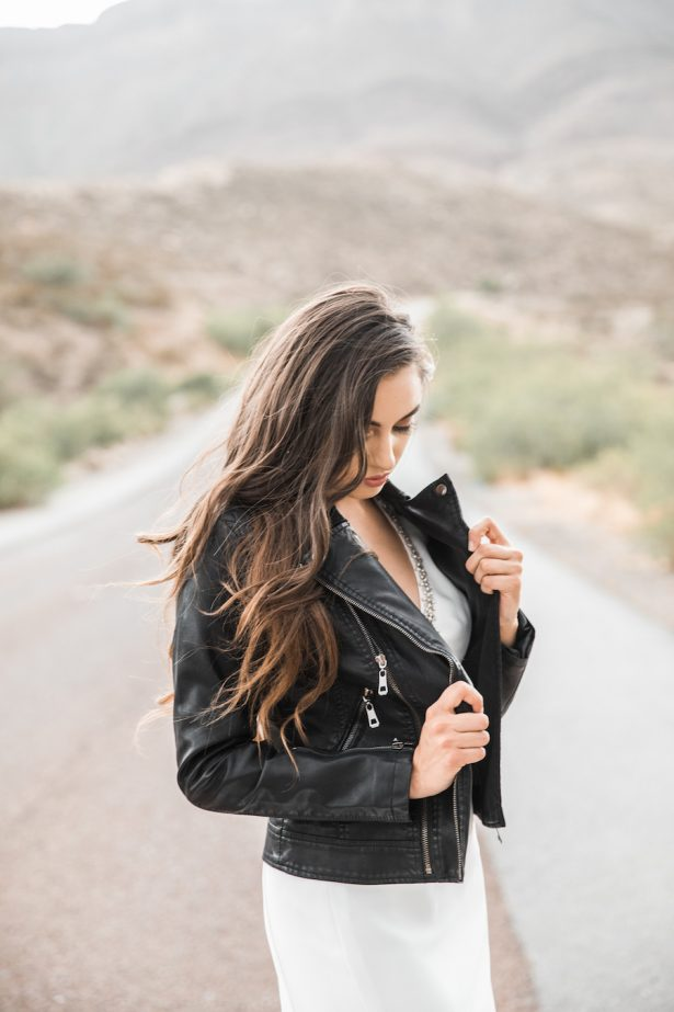 Bride wearing a leather jacket s - Coffee Creative Photography