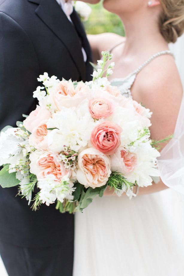 Coral and peach wedding bouquet - PSJ Photography