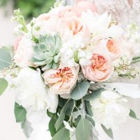 Coral wedding bouquet - PSJ Photography