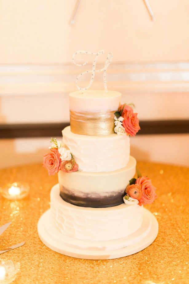 Gold and orang wedding cake - PSJ Photography